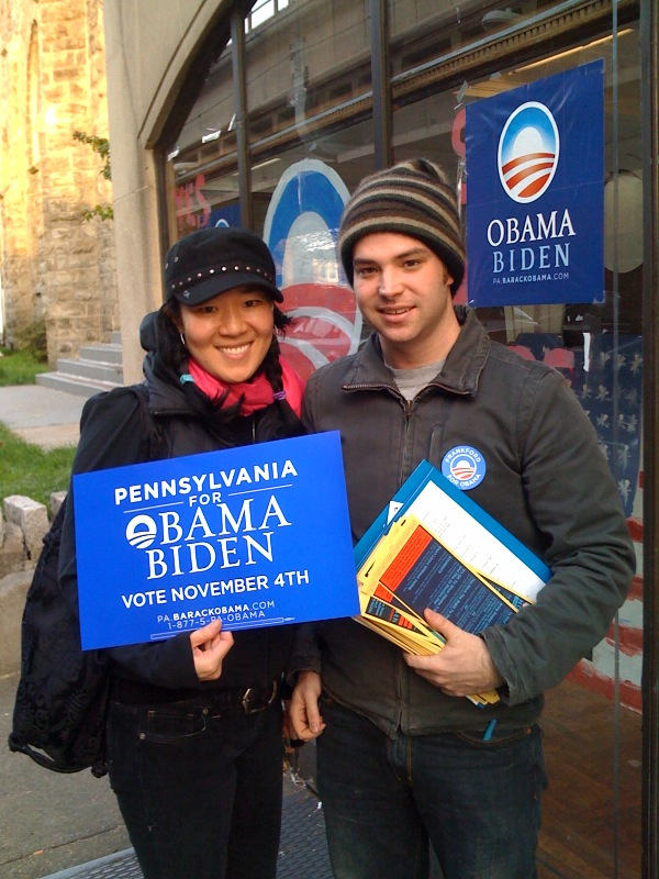 Barbara and Taylor volunteering for Obama